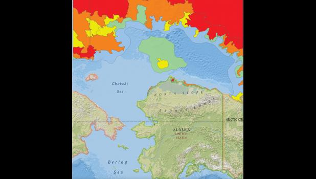 The map shows the current sea ice pack edge, pictured in red and orange, still hundreds of miles north of Alaska. The green color depicts sea ice between one and three tenths of an inch in thickness.