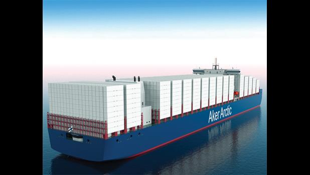 GIANT CONTAINERSHIP— Last week, the Finnish engineering company Aker Arctic announced their new icebreaking container ship, shown in this digital rendering. The ship is specially designed to transit the Northern Sea Route without icebreaker assistance.