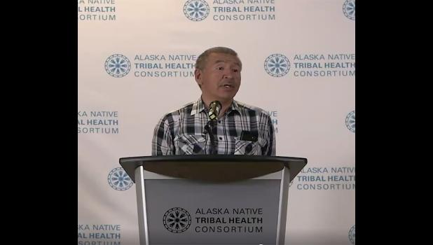 SOLUTIONS NEEDED— NSHC's board of director chairman Preston Rookok of Savoonga comments on the need for water and sewer systems that are woefully inadequate in the Bering Strait region, during the Monday announcement of the grant.