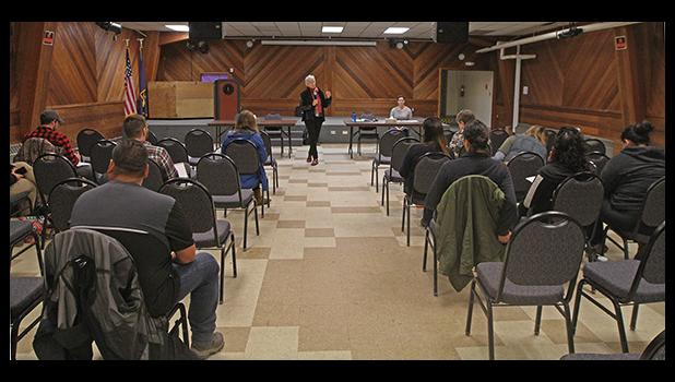 CLIMATE ROUNDTABLE— Ko Barrett, vice chair with the Intergovernmental Panel on Climate Change, addresses a thin crowd at the Tuesday roundtable meeting on the effects of climate change, in Nome.