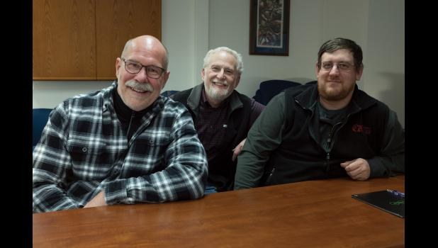 FISH SURVEY—In Nome to talk about their surprising findings in the biennial trawl survey are, from left, Bob Lauth, Jeff Napp, and Lyle Britt.