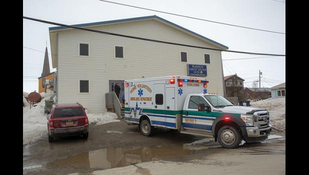 FIRST RESPONSE –– A Nome ambulance responds to the NEST shelter to take care of a man who'd fallen and was bleeding. The Nome Emergency Shelter Team, NEST for short, offers shelter at night from November through April. This week, it closed for the season.