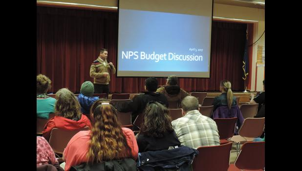 EDUCATION GETS HIT HARD— Superintendent Shawn Arnold welcomed parents, staff and community members to  a meeting on the budget on Monday, April 3.
