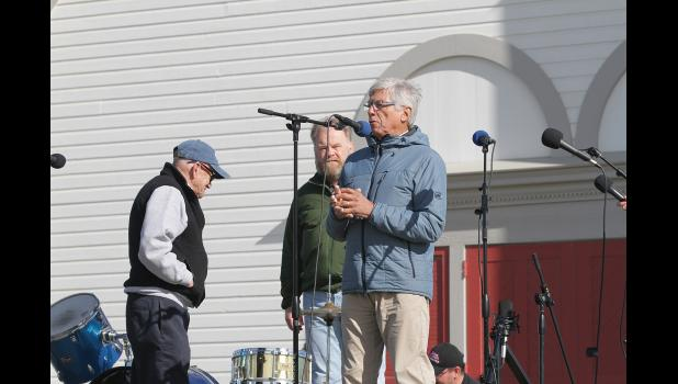 LIEUTENANT GOVERNOR— Lt. Governor Byron Mallott visited Nome and addressed the crowd at the Berry Festival at Anvil City Square on Sunday afternoon. He is pictured with Mayor Beneville, left, and Crystal Serenity Captain Birger Vorland.