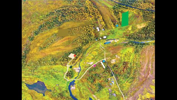 The overview of the Pilgrim Hot Springs area shows potential agricultural development: a field crop in the green-shaded area, water tanks (blue circles), a high tunnel (white rectangle).