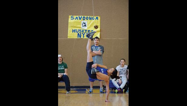 RECORD SETTER— Teller Aklaq Grace Ongtowasruk won a gold medal and set a new district record in the Alaskan High Kick with a height of 68 inches at the 2016 BSSD NYO meet  in Savoonga last weekend.