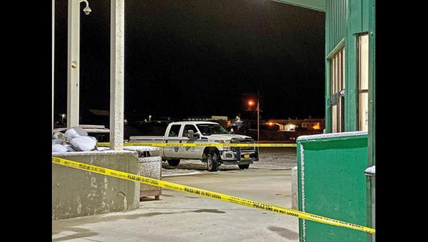 BREAK-IN—NPD officers secured a crime scene at the Alaska Commercial Store on Nome-Teller Highway following a robbery Oct. 19.