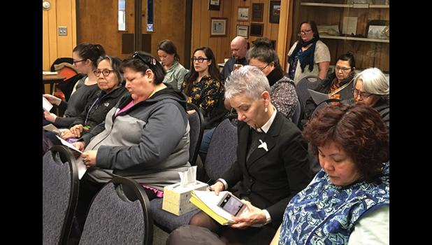 ENOUGH—Women filled the Council Chamber on May 7 to say they feel that assaults on Alaska Natives are receiving inadequate response and prosecution.