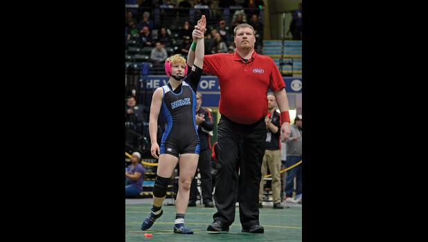 STATE CHAMPION— Nome Nanook Starr Erikson was crowned State Champion in the 112-pound class at last week's Alaska Wrestling State Championships held at the Alaska Airlines Center in Anchorage.