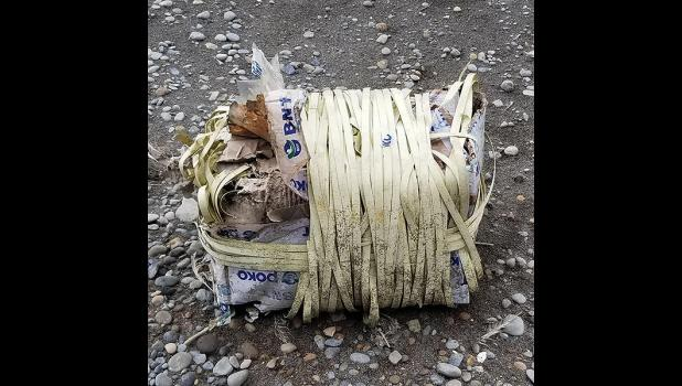 PLASTIC— This box with plastic bands washed up ashore near Emeghaq camp on St. Lawrence Island, found on Sept. 19, 2020.