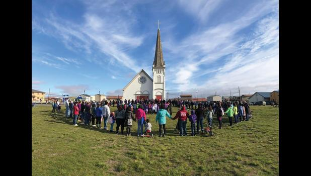 WALK FOR ASHLEY— Nome residents gathered to stand in solidarity with missing 10-year-old Ashley Johnson-Barr from Kotzebue, on Thursday. The body of the girl was found the next day near Kotzebue.