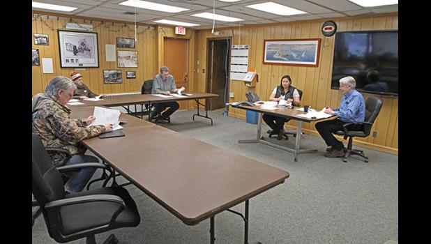 DISTANCING— The Nome Common Council met on Monday, practicing proper distancing while most councilmembers called in.