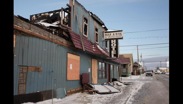 TOTAL LOSS— The Polaris Hotel after the fire.
