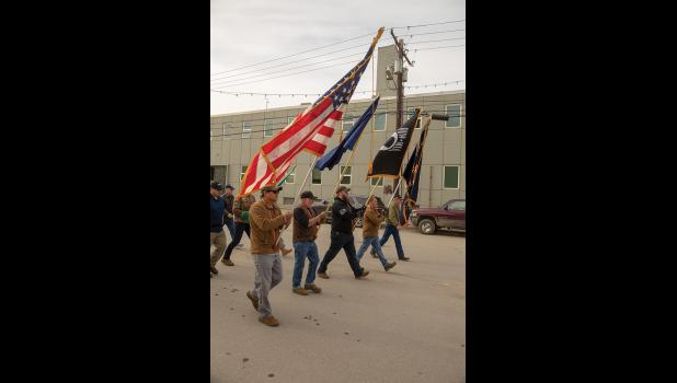 MEMORIAL DAY – Veterans begin the march down Nome's Front Street on their way to the Nome cemetery for a commemoration of Memorial Day Monday