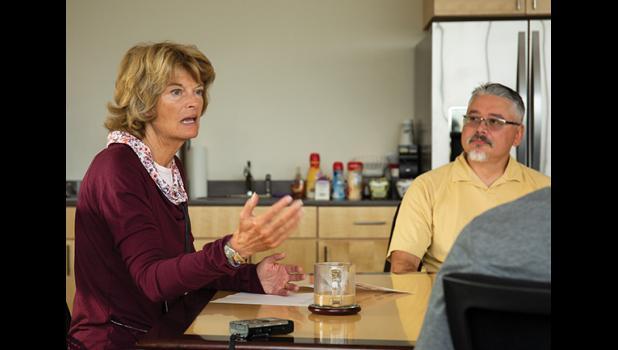 BREAKFAST MEETING – U.S. Senator Lisa Murkowski met with local leaders to discuss issues Saturday morning at NSEDC. Looking on is Tom Okleasik of Sitnasuak.