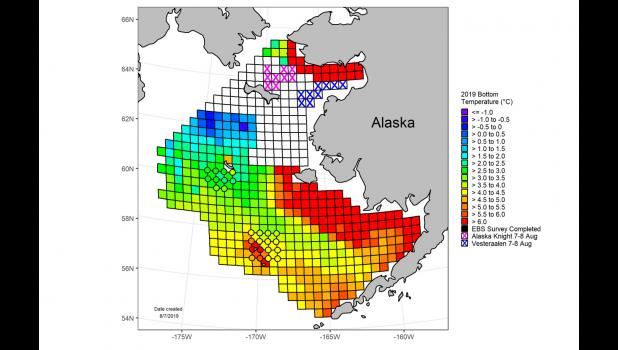 HOT— A survey found surface ocean temperature near the southern Seward Peninsula to be warmer than normal by six degrees Celsius.