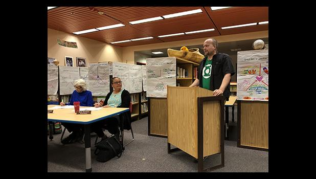 UP IN ARMS— Jim Shreve, Systems Admin for NPS and Union President, addresses the school board during the public comment period at the regular school board meeting last Tuesday, August 14.